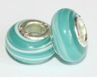 Wholesale Turquoise Glass Beads Wholesale - 50PCS GORGEOUS BIG HOLE LAMPWORK 925 STERLING SILVER TURQUOISE MURONA GLASS BEADS FIT PANDORA CHARMS BRACELETE UROPEAN B1565