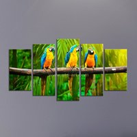 Wholesale Bird Picture Frames - Wholesale Home Decoration Pieces Wall Art Painting Sets with Frame of Bird 5 Piece Canvas Prints Modular Pictures on the Wall