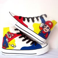 Wholesale Mario Shoes - New Arrival Game Cartoon Super Mario Hand Painted CanvasShoes,OutdoorLeisureFashionSneakers,UnisexCasualShoes