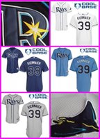 Wholesale Items Embroidery - Men's Tampa Bay Rays #39 Kevin Kiermaier Blue White Grey BaseBall Jerseys Stitched Embroidery Logos Top quality Hot items Free shipping
