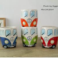 Wholesale Milk Retro - Cartoon Bus Mugs Hand Painting Retro Ceramic Cup Multi Function Milk Tea Mug Drinkware Gift For Kids 13 5xy J R