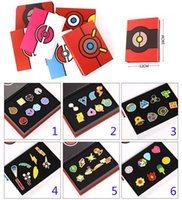 Wholesale Pokemon Box Set - Children Poke Metal Badge Brooch toys free DHL 6 Style Zinic Alloy Brooch poke Action Figures Anime 8pcs set with box toy B