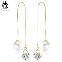 Wholesale Pearl Drop Mother - Fashion Cute Ear Wire Earrings Female Models Long Drop Crystal Imitation Pearl Jewelry Dangle Earrings Brincos OME26