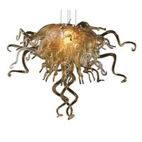 Wholesale chihuly art glass - 100% Handmade Blown Murano Glass Chandelier Light Chihuly Style Murano Glass LED Light Source AC 110V 240V Chandelier for House Decoration