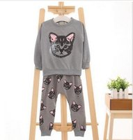pisi seti pamuk toptan satış-2016 YENI Sonbahar kitty kız giyim setleri çocuklar elbise küçük Sevimli kedi bebek kız ve erkek uzun kollu pamuk seti