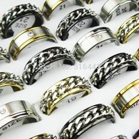 Cool New 10pcs Silver Gold Black Rhinestones Mulheres Mens Stainless Steel Fashion Spin Chain Rings Atacado Jóias Lotes A-298