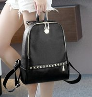 Wholesale Handbag Tote Korea - Korea style pu black backpack fashion bags shoulder bags Totes women message bag handbag purse yzs168