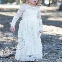 Wholesale Lace Wholesale Usa - Euro And Usa Style Winter Autumn Kids Girls Dress High Grade Lace Girls Wedding Party Dress Children Clothing 2-8Y