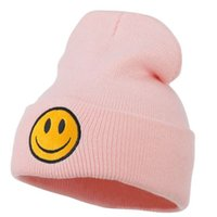 New Girl Boy Winter Smile Fce Casquettes Knitted Beanie Poms Hip Hop Skull Mode Ski Hat Noir Blanc Gris