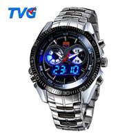 Wholesale Tvg Steel Watch - TVG Luxury Men's Sports Watches Fashion Clock Stainless Steel Watch LED Digtal Watches Men 30AM Waterproof Wristwatch Relogio Masculino