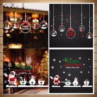 Wholesale Educational Wall Stickers - 50*70cm Merry Christmas Snow Reindeer Santa Claus Snowman Wreath Tree Shop Window Wall Stickers Static Sticker Vinyl Decal Xmas Decor