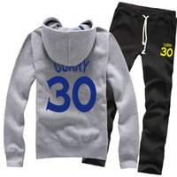 Wholesale Spring Sweaters Zippers - New Wholesale Basketball Golden State Stephen Curry No.30 Spring Winter Pure Cotton Zipper Fleece Hoodies Sweater Coat Jackets Sports Pants