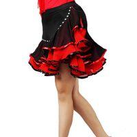 Wholesale Red Salsa Skirt - 2016 Women Latin Skirt Tulle Skirts Dresses For Ballroom Dancing Latin Jurk Clothes For Salsa Tenue Danse Adulte Grande Taille