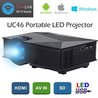 Genuine UNIC UC46 + Projetor LCD 1200 Lumens 2.4G WiFi Wireless Portable LED Cinema em casa Cinema Multimídia 1080P USB / SD / AV / HDMI / VGA / IR UC40