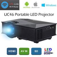 Wholesale genuine videos - Genuine UNIC UC46+ LCD Projector 1200 Lumens 2.4G WiFi Wireless Portable LED Home Theater Cinema Multimedia 1080P USB SD AV HDMI VGA IR UC40
