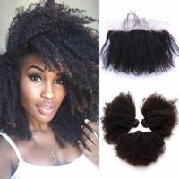 bakire kıvırcık afro örgü toptan satış-8A Brezilyalı Afro Kinky Kıvırcık Virgin İnsan Saç Dokuma Dantel Frontal Ile 4 Adet Lot Kulak Tam Dantel Frontal Kapatma Ile Demetleri