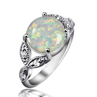 Wholesale Gem Clusters - Classic Design Fire Opal Gem Rings 925 Sterling Silver Mid-finger Rings For Women Best Anniversary Gift Wedding Jewelry