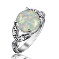 Wholesale Sterling Silver Fire Opal Jewelry - Classic Design Fire Opal Gem Rings 925 Sterling Silver Mid-finger Rings For Women Best Anniversary Gift Wedding Jewelry