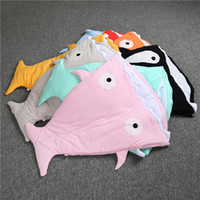 "Wholesale Cute Quilts - 33"" shark sleeping bag Newborns quilt 100% cotton fabric Winter Strollers Bed Swaddle Blanket Wrap cute Bedding baby Nursery Bedding B516"