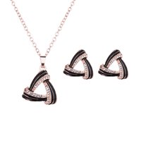 Wholesale Triangle Heart Necklace - Hot Jewelry Set Gold Plated Austrian Crystal Triangle Pendant Necklace Earrings For Women Jewelry Wedding Bridal Jewelry Sets