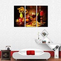 foto de parede vermelha para sala de estar venda por atacado-3 Picture Combinação Food Series Pictures Fruta e Vinho Tinto Ao Lado de Candlestick Wall Art Print para Sala de Estar