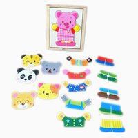 Wholesale Pigs Cartoons Baby Clothes - Baby Toys Pig Bear Derss Changing Derssing Jigsaw Wooden Toys 6Set Clothing Infant Cartoon Puzzle Child Education Birthday Gift