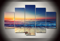 Wholesale Canvas Kitchen Wall Art - 5 Pcs HD Printed Sunset waves picture Painting wall art room decor print poster picture canvas Kitchen art
