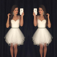 Wholesale Cocktail Gown For Women - 2016 Little White Homecoming Dresses Spaghetti Straps With Beads Tulle Cocktail Dresses Formal Party Dresses Prom Gowns For Women