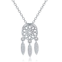Silver Tone Brush Terminou Dreamcatcher Feather Tassel Pendant Necklace e brincos Set Wholesale