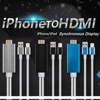 Wholesale Hdmi Hdtv Iphone - 2M High Speed Aluminum HDMI HDTV AV Cable For iPhone 5 5S SE 6 6S Plus ipad Support HD 1080P connection CAB141