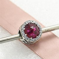 Wholesale Rose Cut Beads - 2016 Autumn 925 Sterling Silver Radiant Hearts Charm Bead with Rose Cut Cerise Crystal & Cz Fits European Pandora Jewelry Bracelets
