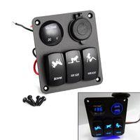 Wholesale panel circuit - Wholesale- New 3 Gang Waterproof Car Circuit LED Rocker Switch Panel Breaker 2 USB Socket