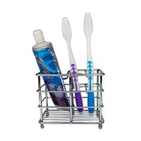Wholesale Toothbrush Toothpaste Holder For Bathroom - Simple Toothpaste Stand Multi Function Stainless Steel Toothbrush Holders Firm Durable Storage Rack For Home Bathroom Supplies 15hy B