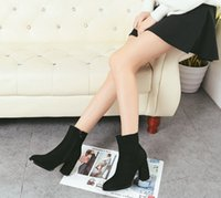 Wholesale Thick Naked Women - 2017 new Genuine Leather ankle boots sexy naked boots size 35-39 fashion square toe thick heel women boots high heel