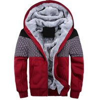 Wholesale Korean Men Hooded Sweater Jacket - 2016 new men's sweater hooded fall and winter clothes baseball clothing Korean fashion stitching campaign plus velvet thick cotton jacket