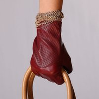 Wholesale Ladies Opera Leather Gloves - Solid Wine Red Genuine Leather Gloves For Women Wrist Fashion Winter Warmth Sheepskin Lady Driving Glove Promotion Sale L090nn