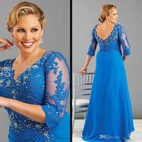 Wholesale New Arrivals Sleeves - 2016 New Arrival Blue Plus Size Mother Of The Bride Dress With Sleeve Chiffon Women Formal Dress Custom Made Beaded appliques Mother Dresses