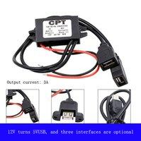 Wholesale Usb Step Down - DC-dc depressurization module step-down line 12V to 5V3A dual USB vehicle power converter car mobile car charger