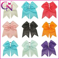 Wholesale Hot Fix Rhinestone Wholesale - 8 inch Large Hot Fix Rhinestone Girls Cheer Bow Handmade Children Baby Solid Ribbon Cheerleading Bows With Elastic Band