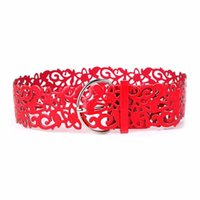 Hot Fashion 7 Couleurs Wide Hollow Buckle Ceinture Ceinture Ceinture Ceinture Femme Tie Floral Tie H211007