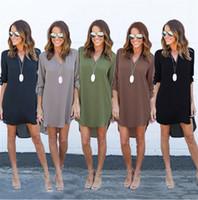 Wholesale Full Midi - 2017 Summer Dress Women Sexy V-Neck Full Sleeve Asymmetrical Hep Plus Size Loose Casual Chiffon Dresses Vestido Maxi 4XL 5XL DHL Nx170909