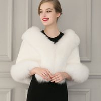 Wholesale Natural White Fur Cape - Ladies White Black Faux Fur Cape Wedding Gown Capelet Winter Warm Outwear Deluxe Fur Shawl Cloak Coats Short Jackets CJF0930