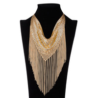 Wholesale White Christmas Attire - New Fashion personality women gold silver two colors Metal fringed dress lady Dance decoration Chokers girl formal attire jewelry