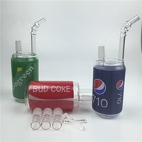 Wholesale Bud Pipes - 14mm mini oil rig glass bong with bule green red 710 go green bud coke 7.8 inch glass water pipes for smoking