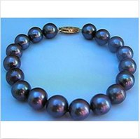 Wholesale Tahitian Black Pearls China - 2015 NEW HOT SELL Great 10-11MM AAA TAHITIAN BLACK PEARL BRACELET 7.5 INCH 14K