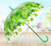 Wholesale Clear Mushroom Umbrellas - Hot Transparent Thicken PVC Mushroom Green Leaves Rain Clear Leaf Bubble Umbrella