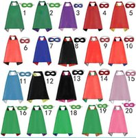 Wholesale Baby Red Cape - double layer Superhero capes & mask 2pcs lot baby kids cosplay superhero party cape L70*W70cm free shipping B4