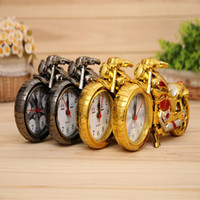 Wholesale Black Plastic Umbrella - Motorcycle Cartoon Alarm Clock Home Decor Art Craft Electronic Desktop Table Clock 4 color Exquiste lov Gift without Battery
