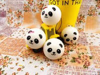 Wholesale Squishy Buns Mobile Charm - Wholesale 4cm Cute Panda Squishy Soft Food Buns PU Cellphone Charm Mobile Phone Strap Squishies Kawaii Pendant Toys 40pcs lot