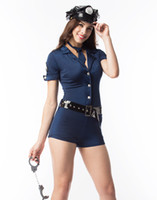 Wholesale Plus Size Sexy Teddy - Plus size Cosplay Sexy Police Costumes For Women Captain Pilot Costume Cop Teddy Costume with black vinyl belt three piece sexy uniform
